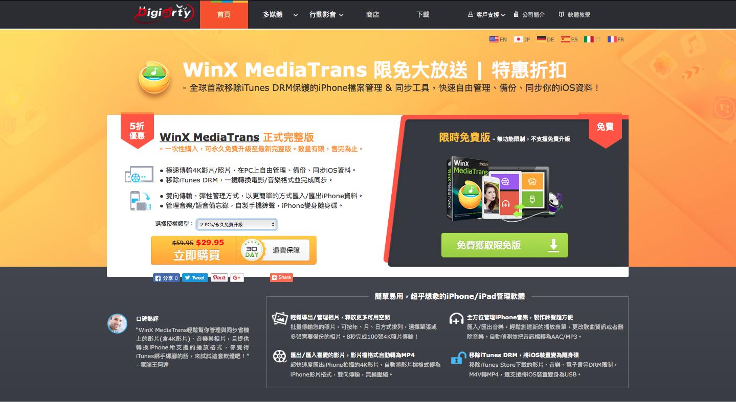 WinX MediaTrans限時免費活動頁面
