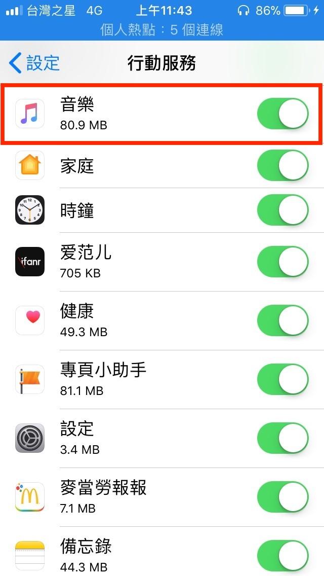 Apple Music播放前流量
