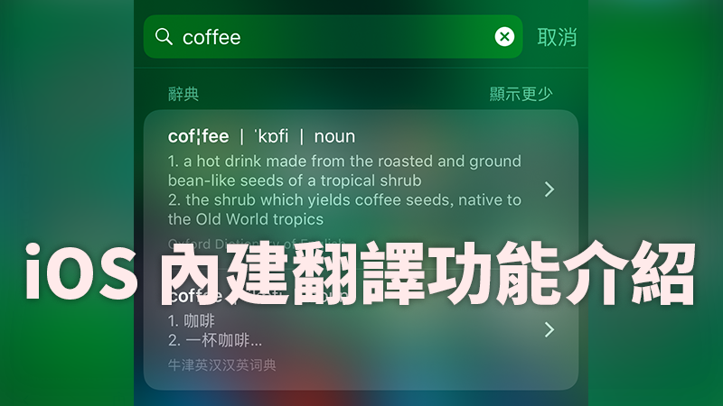 iOS 內建 翻譯