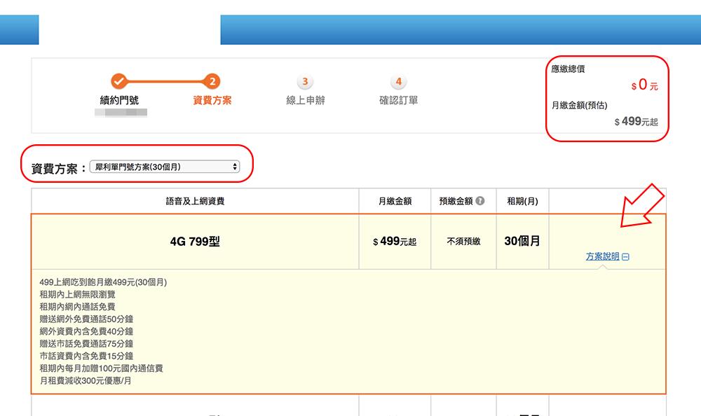 中華電信 499 線上申請 吃到飽