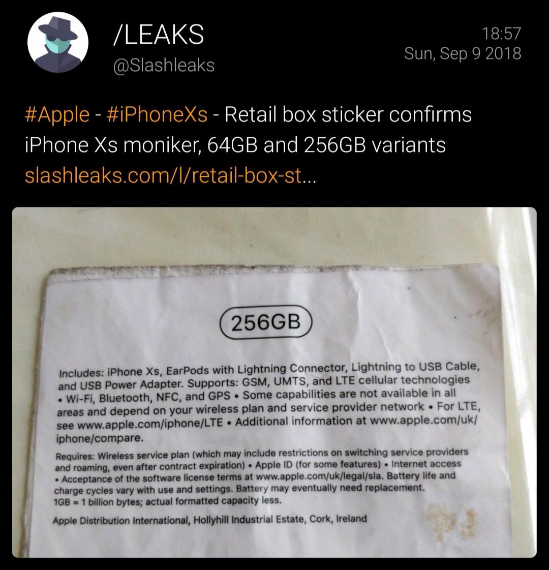 Slashleaks就在刚刚又分享了一张新图片:iPhone Xs的零售版说明书!