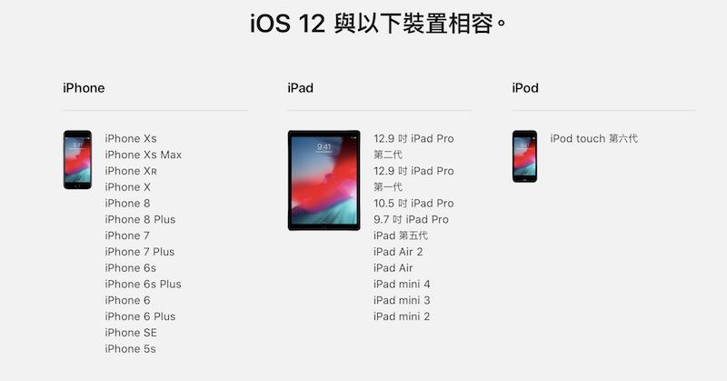 iOS 12 支援